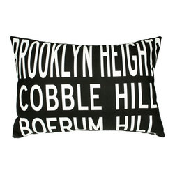 "Uptown Artworks - Brooklyn Heights Pillow - Features: -Material: Natural cotton / linen. -We recommend spot-cleaning or wash in cool water with phosphate-free detergent. -Zipper closure, plush feather and down insert. -Made in the United States. -Eco-friendly. -Overall dimensions: 14"" H x 20"" W, 2 lbs."