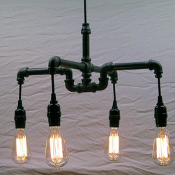 Pipe chandelier - Pipe chandelier with four lights hanging as low or high as wanted.