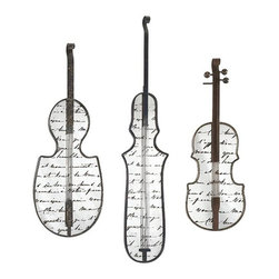 iMax - Jazz Mirror Wall Decor, Set of 3 - Present a muted overture in wall decor with this set of three mirrors shaped like stringed instruments. Constructed of iron and mirror and featuring antiquing over script, these mirrors are perfect for any music lover.