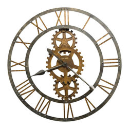 "Howard Miller - Howard Miller Crosby 30"" Wide Wall Clock - Howard Miller - Wall Clocks - 625517 - This 30"" diameter metal gallery clock with applied Roman numerals and cast metal gears. The inner and outer rings and spade hands are finished in a warm gray iron."