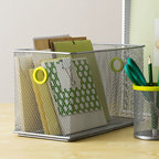 Wire Storage Bin - Plop this functional bin on your desktop to easily access files, office supplies, and more. Sleek and modern, it also adds a note of style to your workspace.
