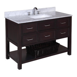 Kitchen Bath Collection - New Hampshire 48-in Bath Vanity (Carrara/Chocolate) - This bathroom vanity set by Kitchen Bath Collection includes a chocolate cabinet with soft close drawers, Italian Carrara marble countertop, single undermount ceramic sink, pop-up drain, and P-trap. Order now and we will include the pictured three-hole faucet and a matching backsplash as a free gift! All vanities come fully assembled by the manufacturer, with countertop & sink pre-installed.