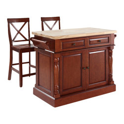 Crosley Furniture - Butcher Block Top Kitchen Island with X-Back - Includes two stools. Fully functional doors and drawers on both sides. Butcher block top. Two towel bars. Antique brass finish hardware. Carved column accents. Two adjustable shelves behind doors. Warranty: 90 days. Made from solid hardwood and wood veneers. Made in Vietnam. X-back stool height: 24 in.. Overall: 48.25 in. W x 23 in. D x 36 in. H (168 lbs.). Assembly instructions - Kitchen Island. Assembly instructions - StoolThis kitchen island is designed for longevity. The handsome raised panel doors and drawer fronts provide the ultimate in style to dress up any culinary space. Great for food preparation, the butcher block top is a plus in any kitchen. Deep push-through drawers are great for holding essential items, such as utensils or storage containers. Style, function, and quality make this kitchen island a wise addition to your home.