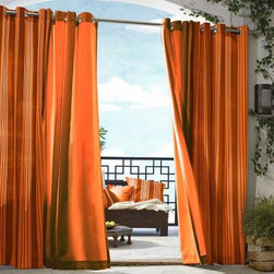 Gazebo Solid Indoor-Outdoor Window Panel, Orange - Adding drapery panels in this tangy tangerine hue will liven up a room. Mix them with cool blues and keep accessories in this color to a minimum for just the right pop of color.