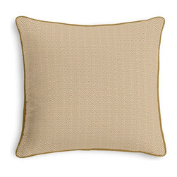 Tan Handwoven Herringbone Corded Throw Pillow - Black and white photos, Louis XIV chairs, crown molding: classic is always classy. So it is with this long-time decorator's favorite: the Corded Throw Pillow.  We love it in this woven cotton herringbone twill in beige & ivory. a neutral texture for any style.