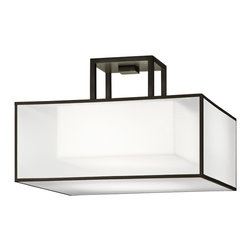 Fine Art Lamps - Black + White Story Semi-Flush Mount, 330740-6ST - If you've got a somewhat lower ceiling, this sleek, semi-flush fixture is ideal for bringing beautiful direct light to your space. The simple shade of white crepe with a shimmering organza screen will blend seamlessly with your decor.