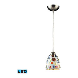 Elk Lighting - Elk Lighting Gemstone 1 Light Genstone Pendant w/ Satin Nickel Hardware - 1 Light Genstone Pendant w/ Satin Nickel Hardware belongs to Gemstone Collection by Individuality Is What Defines This Exquisite Line Of Hand Blown Glass. Each Piece Is Meticulously Hand Blown With Up To Three Layers Of Uncompromising Beauty And Style. Pendant (1)