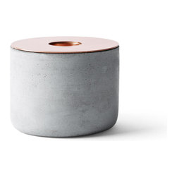 Menu - Chunk Candleholder, Concrete/Copper - Chunks is a series of raw and robust candleholders for regular candles. 3 different kinds of material in 3 different sizes, ready for mix, match and mismatch just as you like.