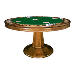 """California House - taliesin 48-in reversible poker table - These solid hardwood tables are custom-crafted in the US in maple with your choice of four wood finishes and four felt colors. Choose from Berkeley, Claridge, Robie or Taliesin base styles. All tables available in 42"""", 48"""", 54"""", 60"""",  and 66"""", diameter. The gaming top reverses to a dining top to extend the utility of your table for everyday use."""