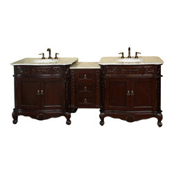 """Bellaterra Home - 82.7 Inch Double Sink Vanity-Walnut-White Marble - Give your bathroom an upscale appearance with this handcrafted bathroom vanity, featuring smooth, rich finishes and a lustrous construction of wood. This bathroom cabinet will enhance your traditional bath decor with antique-style and classical appeal. Features intricate acanthus leaf details and scrolled feet. A beautiful 3/4""""thick hand-polished marble top completes the look. Vanity dimension: 84.9 W x 23.6 D x 36 H"""