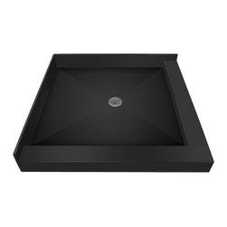 Tileredi - TileRedi 4848CDR-PVC 48x48 Double Curb Pan Center Drain - TileRedi 4848CDR-PVC 48 inch D x 48 inch W, Integrated Center PVC Drain with Right Dual Curb