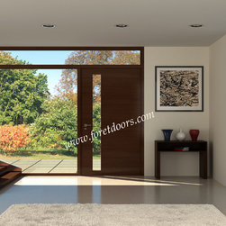 Modern front entry doors / contemporary front entry doors - Solid wood modern entry door with glass window and sidelight
