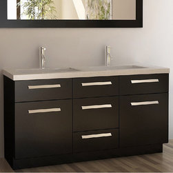 None - Moscony Espresso 60-inch Double Sink Vanity Set - Update your look with this modern Mascony double sink vanity set. Finished in espresso for a sleek look, this beautiful vanity is made of solid oak and features satin nickel hardware, soft-closing cabinet doors/ drawer and a porcelain sink.