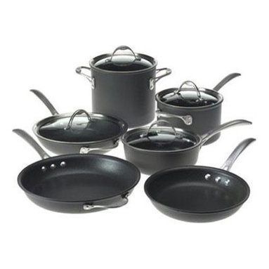 """Epoca - Artistry Cookware Set - Cook well and Do Good with this Ecolution Eco-Friendly 12 Pc. Artistry aluminum Cookware Set. Groovy rings on the bottom of the pans distribute heat evenly for optimum performance. Squeezable silicone handles always keep cool. Non-stick Hydrolon coating is an ecologically advanced water based coating that is made without PFOA for fewer greenhouse gases. glass lids let you see what's cooking without letting heat escape. Dishwasher Safe. Set includes: 8"""" Fry Pan, 9.5"""" Fry Pan, 11"""" Fry Pan, 1 Qt. Saucepan with glass Lid, 2 Qt. Saucepan with glass Lid, 5 Qt. Dutch Oven with glass Lid, Collapsible Silicone Steamer, Bamboo Spoon and Bamboo Spatula. Packaging printed on 70% recycled materials."""