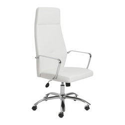 Eurostyle - Eurostyle Napoleon High Back Office Chair in White and Chrome - Eurostyle - Office Chairs - 01290WHT - Napoleon said 'an army marches on its stomach' citing the strength of good nutrition in the field of battle. In an office, we say 'the army works on very comfortable chairs'. Napoleon office chairs, high back and low. Arm your staff with these bold and sturdy chairs and discover how comfort conquers all.