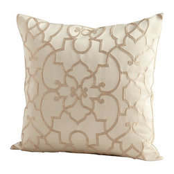 Cyan Design - Cyan Design Royal Celebration Pillow X-23560 - An ornate pattern adorns the facade of this Cyan Design decorative pillow. From the Royal Celebration Collection, this elegant pillow features a beautiful Gold colored pattern set against a creamy backdrop. Curves intermingle with lines and angles, drawing the eye while feathers and downs add comfort.