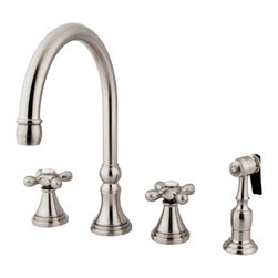 """Kingston Brass - 8"""" Deck Mount Kitchen Faucet with Brass Sprayer - Inspired by 18th Century elegance, this faucet is the ideal choice for those wishing to create a luxuriant look for their kitchen. The faucet has a double handle deck mount setup and features a 8""""-16"""" design. The body is fabricated from solid brass for durability and long-lasting use. The color finish is made of satin nickel for that silvery complexion, as well as resisting scratches, corrosion and tarnishing. The spout rotates 360 degrees for accessibility and convenience. The handle acts as a 1/4-turn on/off water control mechanism for easy management of water volume and temperature. The faucet operates with a ceramic disc valve for droplet-free functionality with the water measured 2.2 GPM (8.3 LPM) and a 60 PSI maximum rate. An integrated removable aerator is inserted beneath the spout's head piece for conserving water flow. A 10-year limited warranty is provided to the original consumer. Brass sprayer included.; Brass Sprayer Included; Satin Nickel Finish; Metal Cross Handle; 8 1/4"""" Spout Projection with a 6-7/8"""" spout clearance; 4 Hole Installation; Material: Brass; Finish: Satin Nickel Finish; Collection: Governor"""