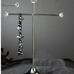 "15""h Black Plated Necklace Stand Holder Organizer, Modern Jewelry Organizer - The Madison Collection features an elegant black plated metal design with clear acrylic beads."