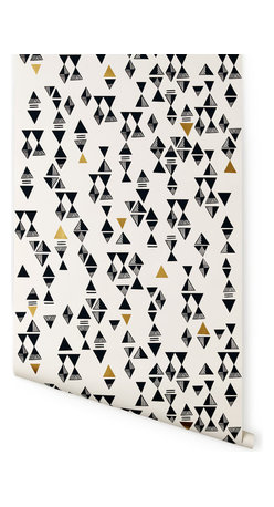 Hygge & West - Triangles Wallpaper - Graphic triangles turn into diamonds, hourglasses and pyramids in this playful, punchy, screen-printed paper. Try it on an entry wall, behind your favorite Mad Men bar cart or on the back of a bookcase for a modern look that angles toward vintage (think: quilts!).