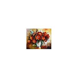 Leonid Afremov - Red Flowers - Palette Knife Oil Painting On Canvas By Leonid Afremov - Oil painting on canvas