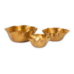 Ava Wavey Bowls - Set of 3 - A new trend in home dcor features rich gold accents! This set of three Ava wavy bowls is the perfect accent grouping for adding just a touch of this new modern metallic to warm up any space.