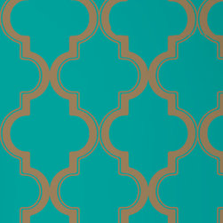 LOLLIPROPS, INC., LPI - Marrakesh Removable Wallpaper, Honey Jade - This iconic pattern evokes the storied romance of Marrakech without leaving your home. You can easily add a bit of bold design and color to any room with this peel-and-stick technology. It's perfect for renters or anyone who likes to play with their home design.