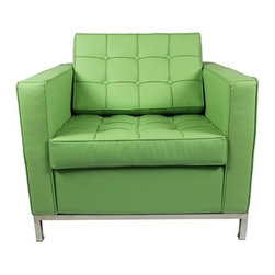 Fine Mod Imports - Button Green Leather Arm Chair - Features: