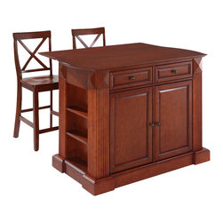 Crosley Furniture - Breakfast Bar Top Kitchen Island with X-Back - Includes two stools. Drop leaf for additional space or dining. Sculpted edges on each end of top. Open storage with adjustable shelves on each end. Antique brass finish hardware. Gorgeous diamond accents and fluted pilasters. Two adjustable shelves behind doors. Warranty: 90 days. Made from solid hardwood and wood veneers. Cherry finish. Made in Vietnam. Stool height: 24 in.. Min: 48 in. W x 23 in. D x 36 in. H (221 lbs.). Max: 48 in. W x 35 in. D x 36 in. H (221 lbs.). Assembly instructions - Drop leaf Kitchen Island. Assembly instructions - StoolThis kitchen island is designed for longevity. The handsome raised panel doors and drawer fronts provide the ultimate in style to dress up any culinary space. Raise the drop leaf to expand your serving space, or just sit at the breakfast bar and eat your meal. Open storage on both ends provides easy access to frequently used items, and is perfect for displaying decorative objects. Style, function, and quality make this kitchen island a wise addition to your home.