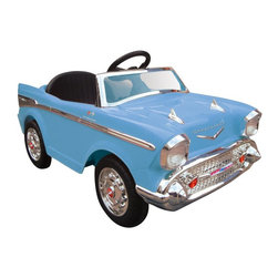Kid Motorz - Kid Motorz Chevy Bel Air Battery Powered Riding Toy - Blue - 0860 - Shop for Tricycles and Riding Toys from Hayneedle.com! The beauty of Chevy's Bel Air is that even if you don't know a thing about malt shops sock hops or baby boomers all you need to do is look at the Kid Motorz Chevy Bel Air Battery Powered Riding Toy - Blue and you know that it's made to move. This fully licensed ride-on toy shows off all the classic fins and curves that made the Bel Air an icon and realistic sound effects just add to the fun. A 12-volt rechargeable battery lets them travel up to 5 MPH using one reverse and two forward gears. Authentic chrome gives the grille hubcaps and windscreen their authentic retro style.
