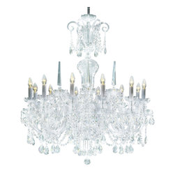 """Inviting Home - Bohemian Crystal Chandeliers (select crystal) - Bohemian select crystal chandelier with cut crystal trimmings; 37"""" x 43""""H (12 lights); assembly required; 12 light select clear crystal chandelier with hand-molded arms and machine-cut crystal trimmings; all metal parts are chromium plated; genuine Czech crystal; * ready to ship in 2 to 3 weeks; * assembly required; This chandelier is a part of Bohemian Classic Collection. Under the name """"Bohemian chandeliers"""" it is impossible to imagine nothing more characteristic than crystal machine-cut chandeliers. Their all-crystal appearance with added non-glass materials makes them ideal representatives of the traditional Bohemian classic. The crystal beauty is then enhanced by mouth-blown cut components or hand-cut chandelier trimmings used. It is just these elements that rank these fixtures among """"jewels"""" illuminating luxurious interiors. The tradition of production luxurious appearance and classical morphology are the common denominator of all these chandeliers. To manufacture these almost 90 percent is hand-completed: mouth-blowing cutting and other techniques applied when working glass and metals. Machine-cut crystal chandelier trimmings and artistically chased metal parts provide a stamp of luxury. Devotees of these lighting fixtures come mostly from the circles of the lovers of magnificent designs created in the style of the timeless classic. Every component passes thorough strict internal Quality Control processes. Highest quality European production with certified standards. UL approved - dry location; hardwire; 8x E12/14 - 40W bulbs; bulbs not included. 3 to 4 feet chain drop provided. Hand crafted in Czech Republic."""