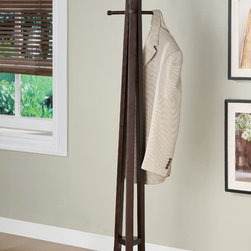Coaster - 72 in. Coat Rack (Cappuccino) - Finish: CappuccinoContemporary style. Uniquely shaped wood top. 19 in. W x 19 in. D x 72 in. H. WarrantyComplete the functionality of your living room with the contemporary lines and plentiful hanging room offered by this wood coat rack. Simple posts on the top offer stylish coat, mitten and hat storage and make organizing your living room or entryway an easy task.