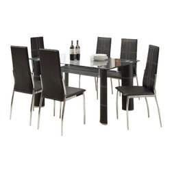"Acme - 7-Piece Riggan Iii Collection Modern Style Black Leather-Like Dinette Set - 7-Piece Riggan III collection modern style black leather like upholstered and chrome chairs glass top dinette set . This set features a glass top table with metal base and glass top , 6 - side chairs with a Black leather like upholstery. Table measures 35"" x 59"" . Chairs measure 40"" H at the back. Some assembly required."