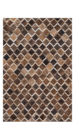 "Loloi Rugs - Loloi Rugs Promenade Collection - Brown, 3'-6"" x 5'-6"" - Hand stitched in India of 100% authentic cowhide, Promenade is a contemporary version of the timeless cowhide rug. The modern collection offers patterns that range in graphic designs with a strong contrast of light and dark hides. And the durable cowhide fiber makes Promenade ideal for your most frequented rooms."