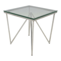 Nuevo Living - Origami Side Table - This craftily constructed table has really got legs — which means it's long on style. The brushed stainless steel frame lofts a surface of thick tempered glass to bring a sleek, modern vibe to your favorite setting.