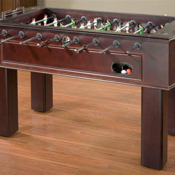 American Heritage - Carlyle Foosball Table - Beautifully trimmed cabinet. Classic parquet playing surface. Striped rugby competitors. Made from maple veneer. Espresso finish. Assembly required. Playing field: 46 in. L x 27 in. W. Overall: 62 in. L x 30.5 in. W x 34.5 in. HThe Carlyle Foosball Table demonstrates the perfect combination of classic beauty with modern entertainment. Striped rugby competitors are elegant and distinguished while the tournament quality craftsmanship and performance are nothing short of spectacular.
