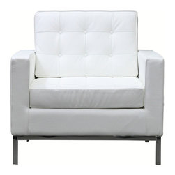 LexMod - Loft Leather Armchair in White - The mid-20th century was a time when hopes were at their highest. Technological developments were bustling forward, and the new world was just barely visible in the distance. But this time also presented a dilemma of sorts. The test of this forthcoming er