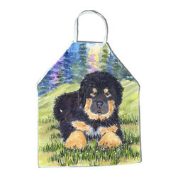 Caroline's Treasures - Tibetan Mastiff Apron SS1037APRON - Apron, Bib Style, 27 in H x 31 in W; 100 percent  Ultra Spun Poly, White, braided nylon tie straps, sewn cloth neckband. These bib style aprons are not just for cooking - they are also great for cleaning, gardening, art projects, and other activities, too!