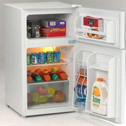 Avanti - Avanti 3.1 Cu. Ft. 2 Door Cycle Refrigerator White - 3.1 Cu.Ft. Capacity Refrigerator|2.2 Cu. Ft. Refrigerator Section|0.9 Cu. Ft. Freezer Section|Beverage Can Dispenser Holds up to Five 12 oz. Cans|2 Liter Bottle Storage on the Door|Clear View Crisper |Full Range Temperature Control|Door Bins for Additional Storage|Space Saving Flush Back Design|Recessed Door Handle|Reversible Door for Left or Right Swing|ADA Compliant|Free standing installation only.|Proper ventilation is required to maintain satisfactory cooling and overall performance|See owner's manual for proper installation requirements|Color: White  This item cannot ship to APO/FPO addresses.  Please accept our apologies.