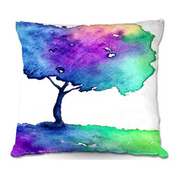 DiaNoche Designs - Pillow Linen by Brazen Design Studio - Hue Tree II - DiaNoche Designs works with artists from around the world to create astouding and unique home decor products.  Add a little texture and style to your decor with our Woven Linen throw pillows.  The material has a smooth boxy weave.  Each pillow is machine loomed, then printed and sewn ALL IN THE USA!!!  100% smooth poly with cushy supportive pillow insert with a hidden zip closure. Dye Sublimation printing adheres the ink to the material for long life and durability. Double Sided Print, machine wash upon arrival for maximum softness. Product may vary slightly from image.