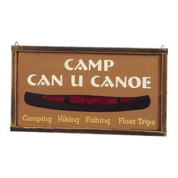 Sleepy's Signs - Vintage Wood Framed Custom Sign amp Can U Canoe - Customizable  Cabin  Welcome  Sign          Camp  Can  U  Canoe  is  only  one  of  the  many  phrases  you  can  put  on  this  rustic  wood  framed  sign.  Handmade  in  the  USA,  this  vintage  styled  wooden  sign  measures  21w  x  11.5h.  Customize  at  no  extra  cost  or  choose  from  a  list  of  sayings  we  provide.                  Rustic  Wood  Sign              21.5  inches  wide  x  11.5  inches  high              Made  in  USA              Allow  4-6  weeks  for  shipping