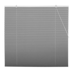 Oriental Furniture - Smoke Pleated Shades - (24 in. x 72 in.) - Subtle smoky gray window treatment, inexpensive and easy to install. No need to cut to size, practical modern design retractable blinds with a pleated polyester fabric shade that installs right on the window frame, hardware included. Fits all windows up to six feet tall.