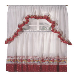 Kashi Home - Spring Fruit Printed Kitchen Curtain Swag Set - Brighten up your kitchen with these printed kitchen curtain sets