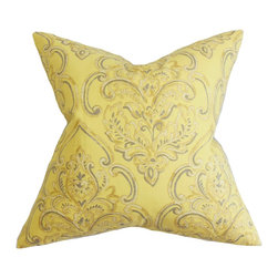 """The Pillow Collection - Yonah Floral Pillow Yellow 18"""" x 18"""" - Add a pop of color to your home with this eye-catching decor pillow. This statement piece features a beautiful floral pattern in brown, gray and white on a yellow background. Complete a uniquely stylish living space by pairing this square pillow with solids. Use it as a decor pillow for your chair or a throw pillow for your bed. Crafted from superior quality materials: 95% cotton and 5% linen. Hidden zipper closure for easy cover removal.  Knife edge finish on all four sides.  Reversible pillow with the same fabric on the back side.  Spot cleaning suggested."""