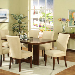 None - Dark Walnut Veneer Dining Table - Add timeless elegance to your dining room with the clean lines and sleek style of this dining table. This 71-inch long table is finished in dark walnut for a look that meshes well with many decor styles.