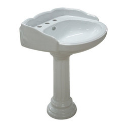 Kingston Brass - White China Wall Mount Pedestal Bathroom Sink with 8in. Center - The Georgian pedestal basin features a unique leg support designed with fine vertical imprints around its surface and the round-edges of the body structure, built to impress with an elegant demeanor insuring quality design and functionality.