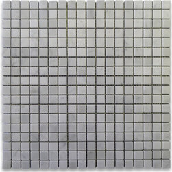 "Stone Center Corp - Carrara Marble Square Mosaic Tile 5/8x5/8 Honed - Carrara White Marble 5/8x5/8"" square pieces mounted on 12""x12"" sturdy mesh tile sheet"