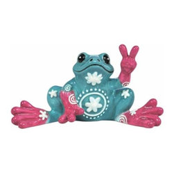 WL - Turquoise Frog Mini Figurine with Flower Design Holds Up Peace Sign - This gorgeous Turquoise Frog Mini Figurine with Flower Design Holds Up Peace Sign has the finest details and highest quality you will find anywhere! Turquoise Frog Mini Figurine with Flower Design Holds Up Peace Sign is truly remarkable.