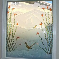 Ocotillo Desert Coyote & Roadrunner Tub Window - Oh let the sun shine in!