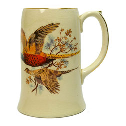 Lavish Shoestring - Consigned Pheasant Decorated Porcelain Beer/Chocolate Mug - This is a vintage one-of-a-kind item.