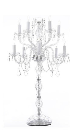 The Gallery - Set of 10 Wedding Candelabra Centerpieces - Set of 10 - G46-2154/5+5-Set of 5 Candelabras chandeliers Candelabras & Centerpieces THIS MAGNIFICENT CANDELABRA IS ALL 100% crystal. 100% crystal chandelier. Nothing is quite as elegant as the fine crystal chandeliers that gave sparkle to brilliant evenings at palaces and manor houses across Europe. This beautiful chandelier is decorated with 100% crystal that captures and reflects the light of the candle bulbs, each resting in a scalloped bob ache. The crystal arms of this wonderful chandelier give it a look of timeless elegance that is sure to lend a special atmosphere in any home.